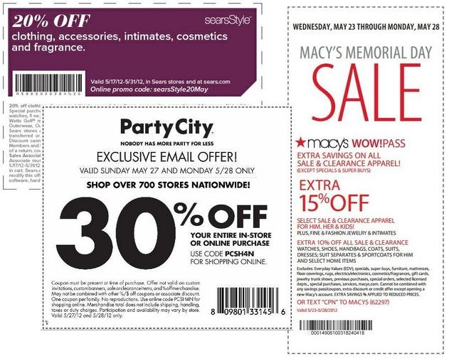 Memorial Day Sales 2012 Online Codes