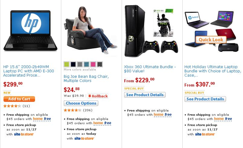 Wallmart Black Friday 2012 sale items