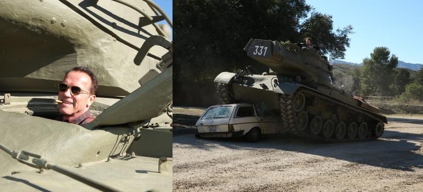 Arnold Schwarzenegger Personal Tank Smashes Mercedes