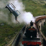The Flying Ford Anglia and the Hogwarts Express. Image Credit: Find Hogwarts website