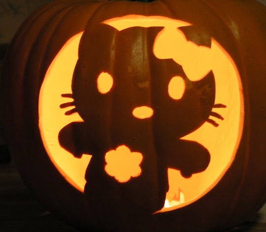 Hello kitty pumpkin carving design enblow Architecture pumpkin stencils